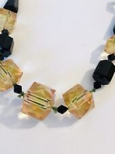vintage crystal glass beads necklace bi-colour Uranium Rose peach & green
