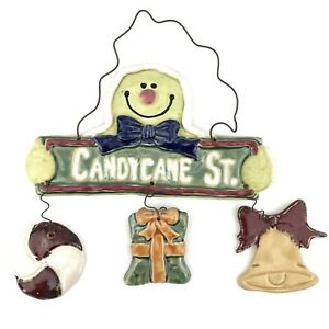 """Candy Cane Street Ceramic Christmas Wall Sign Hanging Decor Ceramic, Wire 12x12"""""""