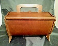 vintage wooden sewing box basket farmhouse country craft notions