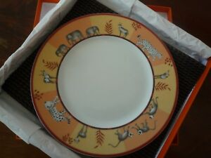 "3  AVAILABLE: auction for 1 / one HERMES 'Africa' plate, orange, 8.75"", in box."