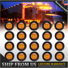 "20X 3/4"" Bullet 3LED Side Marker Lights Trailer Truck Turn Light Clearance Light"