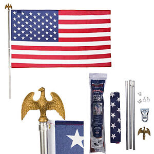 US American Flag Kit 3x5 Ft Polycotton Flag 6 Ft Steel Pole Bracket 4th of July