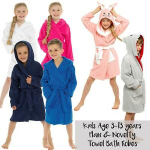 Kids Boys Girls Terry Towelling Soft Dressing Gown Bath Robes 100% Cotton Hooded
