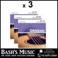 3 x Daddario EJ26 Acoustic Guitar Strings Phosphor Bronze Custom Light 11 - 52