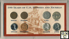 USA 100 Years of U.S. Pennies and Nickles 8 Coin Set (OOAK)