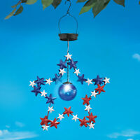 Patriotic Solar Lighted Star 4th of July Hanging Outdoor Garden Decoration