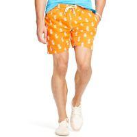 POLO RALPH LAUREN Men's Orange Pineapple Print Swim Trunk Shorts- EUC, Size Med.