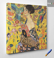 💎Quadro Klimt Dama con Ventaglio Stampa su Tela Cotone Vernice Pennellate 🎨