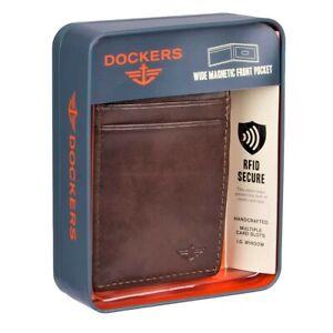 Dockers Men's Leather RFID-Blocking Wide Magnetic Front Pocket Wallet Brown