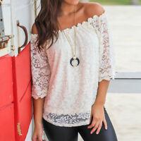 Summer Women Ladies Off Shoulder Lace Short Sleeve Boat Neck T-shirt Tops Blouse