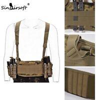 Tactical Molle Combat Waist Padded Modular Airsoft War Belt w/Suspender Strap MC
