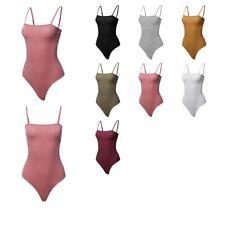 FashionOutfit Women's Solid Camisole Strap Basic Bodysuit