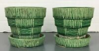 "Vintage McCoy Pottery Green Basket Weave 4"" Flower Pot Planter 2 Pair Lot"