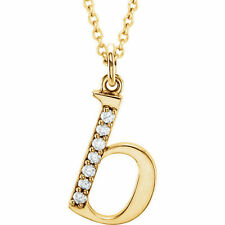 "Diamond Letter ""b"" 16"" Lowercase Initial Necklace in 14k Yellow Gold .04ctw"