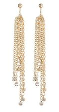 Clip On Earrings - gold dangle earring with long chains and crystals  - Dana