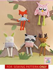 SEWING PATTERN! MAKE KIDS TOYS! OWL~FOX~BUNNY~RACCOON~DEER!  STUFFED~SOFT~CLOTH!