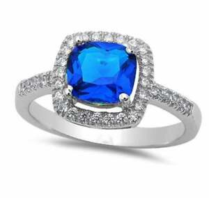 Certified Natural Blue Sapphire Gemstone Sterling Silver Wedding Ring For Her