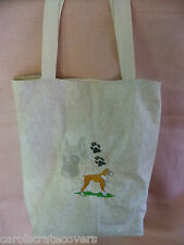 Boxer Dog Embroidered Tote Bag 14 x 10 x 6 inside pockets Handmade