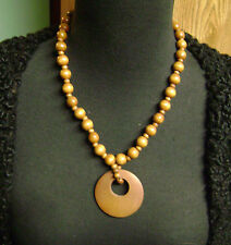 LIGHT BROWN WOOD BEADED HIPPIE/HOBO CIRCLE PENDANT BEADED  NECKLACE
