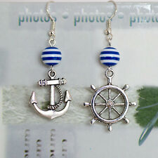 Antique Silver Nautical Rudder/Wheel Earrings with Navy Blue White Stripe Beads
