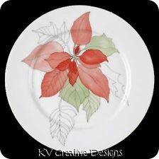 Block Spal Christmas POINSETTIA Watercolor 2 Salad Dessert Appetizer Plates Vtg