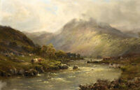 Wonderful Oil painting Carting hay by the Thames In a Highland Valley canvas