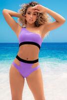 Mapale lavender one shoulder 2 piece swimsuit