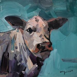 JOSE TRUJILLO Oil Painting IMPRESSIONISM COW PORTRAIT EXPRESSIONISM SIGNED NR