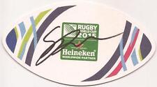 Australia Rugby: sean McMahon firmado Copa del Mundo 2015 Estera De Cerveza + certificado De Autenticidad * Canguros *