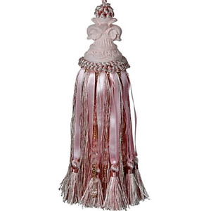 French Provincial Shabby Pink Fleur Beaded Decorator Door Tassel With Beads