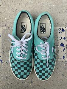 Aqua Blue Checkered Vans Sneakers Size 9.5 Men's
