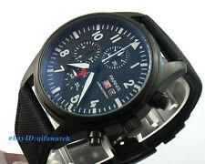 42mm Day&Date Parnis Black Dial PVD Case Full Chronograph Quartz Men's Watch 665