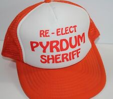 Vintage Trucker Hat Re-Elect Pyrdum Sheriff Tennessee Orange Mesh