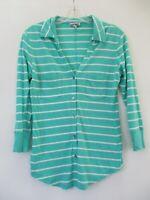 Express Women's Size XS Cotton Striped 3/4 Sleeve Button-Front Shirt Blouse Top