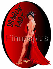 Sexy Nude Asian Dragon Lady Pinup Girl Nose Bomber Art Waterslide Decal S1015