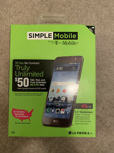 Simple Mobile LG Fiesta 2! New!! Sealed! Includes $50 Unlimited Card And Sim Kit