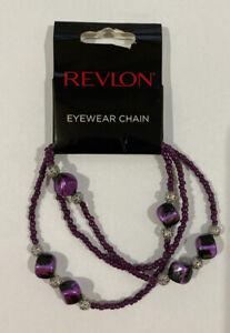 Revlon Eyewear Chain Reading Glasses Retainer Beaded Strap Dark Purple Silver