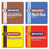Set of 4 Drinks Coasters, McVitie's Biscuits Retro Designs: Digestive, Rich Tea