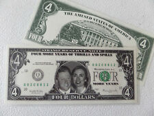 HILLARY CLINTON  &  BILL CLINTON, $4 dollar bill, 00 ICU 812, Laminated, FUNNY