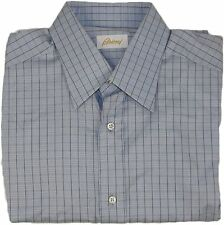 BRIONI MEN'S BLUE CHECK PATTERN LONG SLEEVE SHIRT-39/15.5-MADE IN ITALY