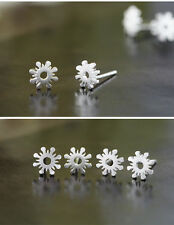 925 Sterling Silver Plated Brushed Cute Small Flower Stud Earrings Gift