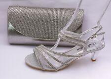 Zapatos de Danza Noche Zapatos Plata Tiras Con Aptas Bolso Novia 6667