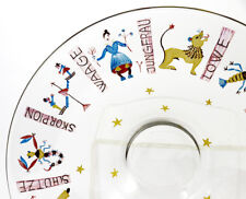 Deco Bohemian enameled wide shallow glass bowl, astrology Zodiac signs [11524]