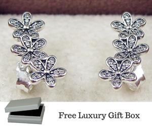 💎🎀 STERLING SILVER 925 DAZZLING TRIPLE DAISY CLUSTER EARRINGS - GIFT BOX -UK