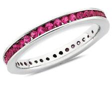Созданный синтетический Рубин полу-вечность кольцо 3/4 карат (Ctw) в Стерлинг серебряный