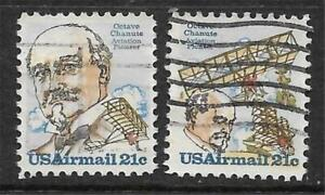 2v0363 Scott C93-94 US Air Mail Stamps 1979 21c Chanute Used Set of 2