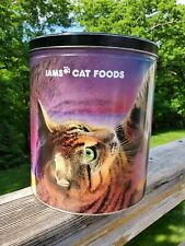 Large Metal Iams Cat Food Canister Promo Black W/Playful Cats