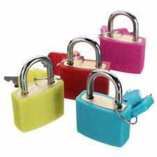 20mm Neon Colored Plastic Coated Brass Padlock Padlocks Lock, 1 SET OF 4 Z9N2