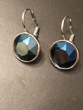 Authentic Swarovski Blue Sapphire Crystal Earrings Silver-tone