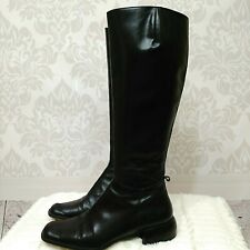 FarrutX Black Leather Knee Boots Size 38.5 US 8 Equestrian Low Heel Spain